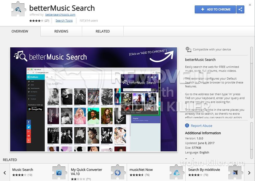 remove BetterMusic Search virus