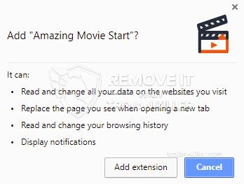 remove Amazing Movie Start virus