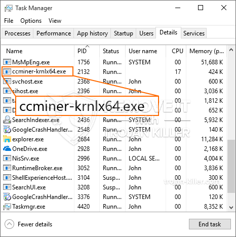 remove ccminer-krnlx64.exe virus