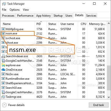 remove nssm.exe virus