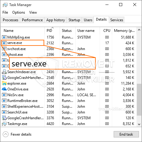 remove serve.exe virus