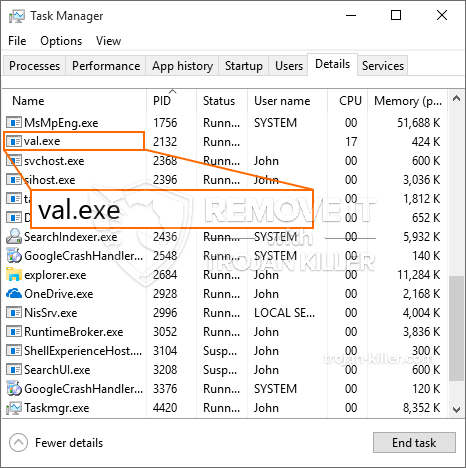 remove val.exe virus