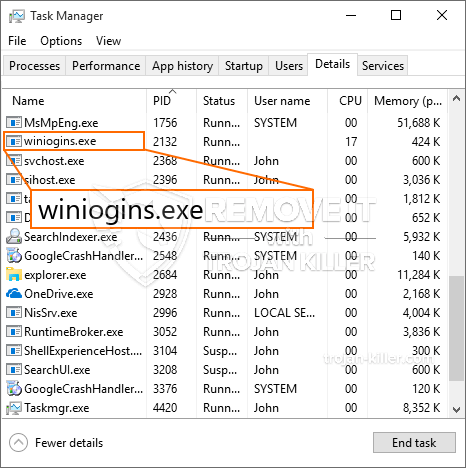 remove winiogins.exe virus