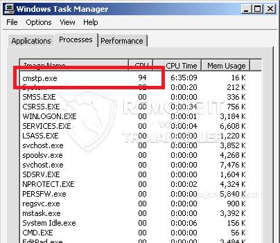 remove cmstp.exe virus