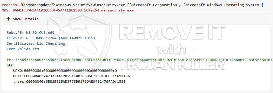 remove winsecurity.exe virus