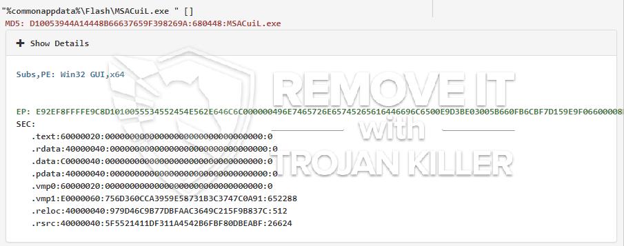 remove MSACuiL.exe virus