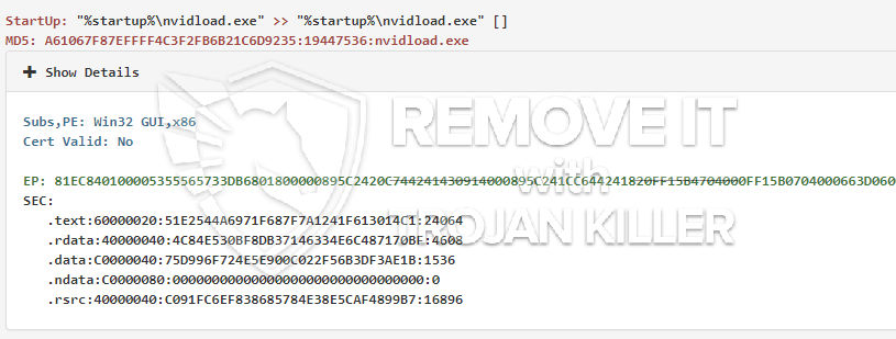 remove nvidload.exe virus