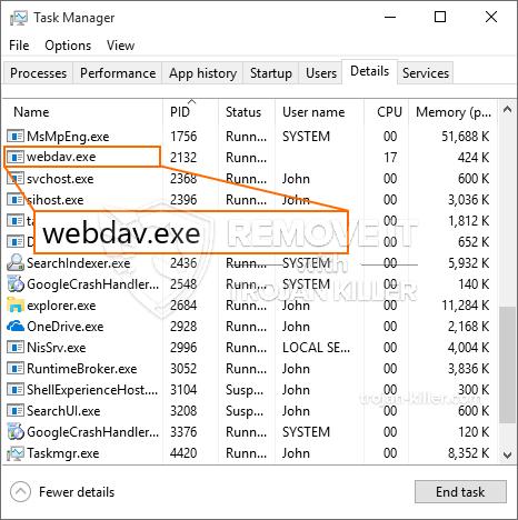 remove webdav.exe virus