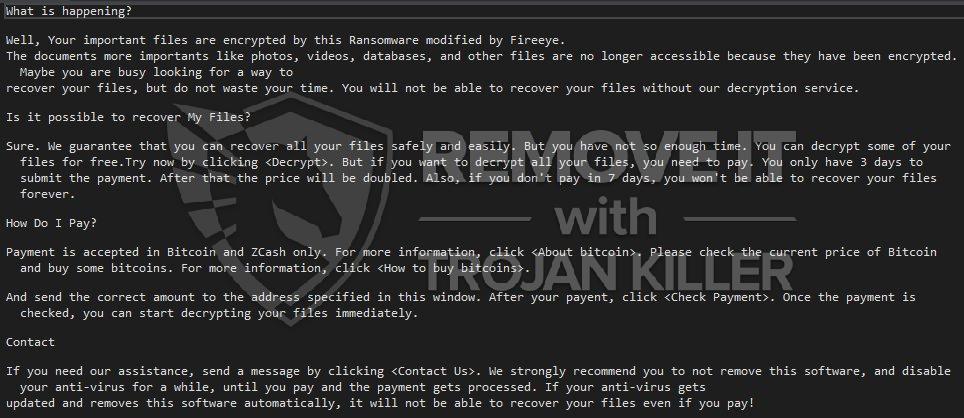 remove BlackFireEye virus