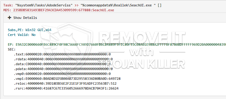 remove SeachUI.exe virus