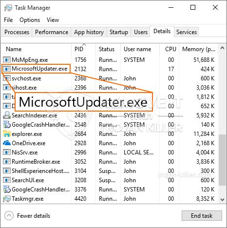 remove MicrosoftUpdater.exe virus