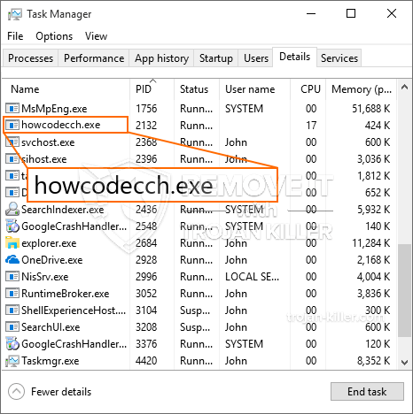 remove howcodecch.exe virus