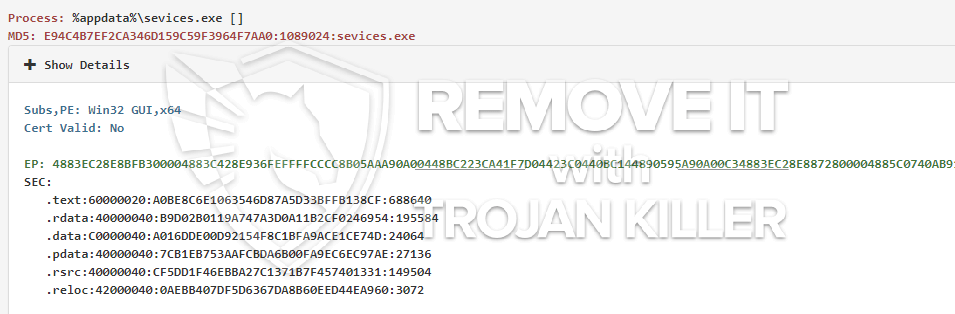 remove sevices.exe virus