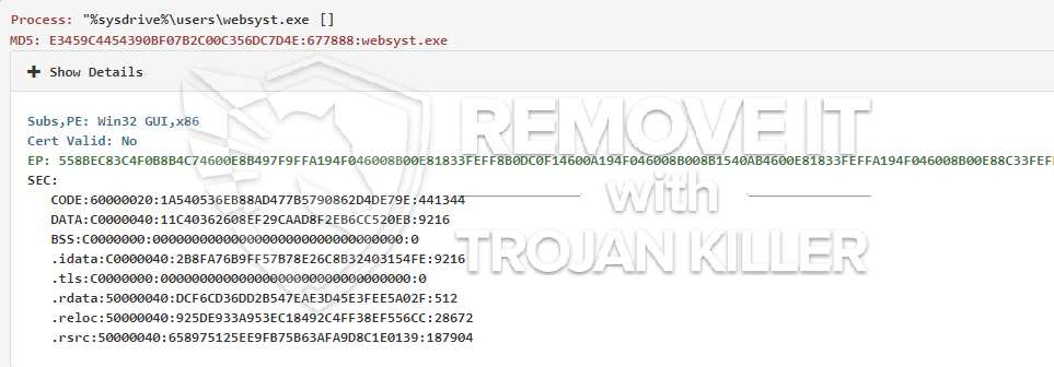 remove websyst.exe virus