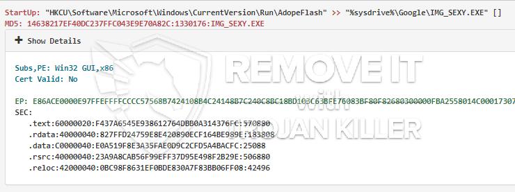 remove IMG_SEXY.EXE virus