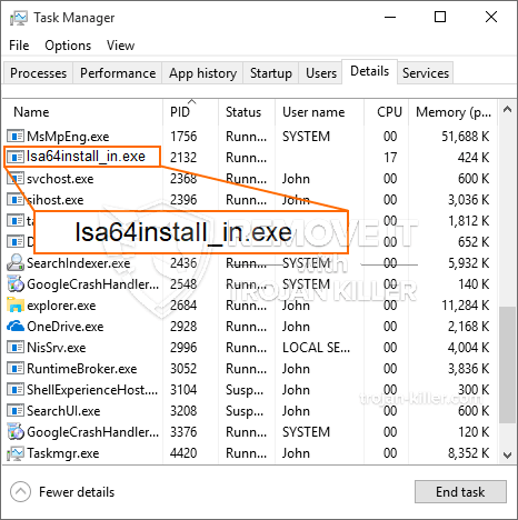 remove Lsa64install_in.exe virus