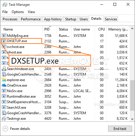 remove DXSETUP.exe virus