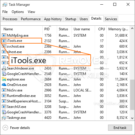 remove ITools.exe virus