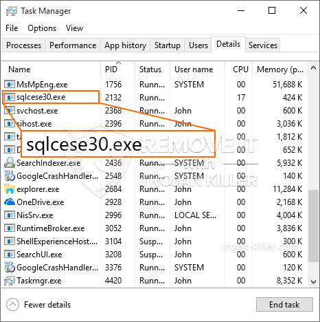 remove SQLcese30.exe virus
