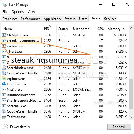 remove Steaukingsunumea.exe virus