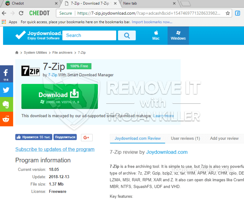 How to block 7-zip.joydownload.com Notifications? Browser hijackers