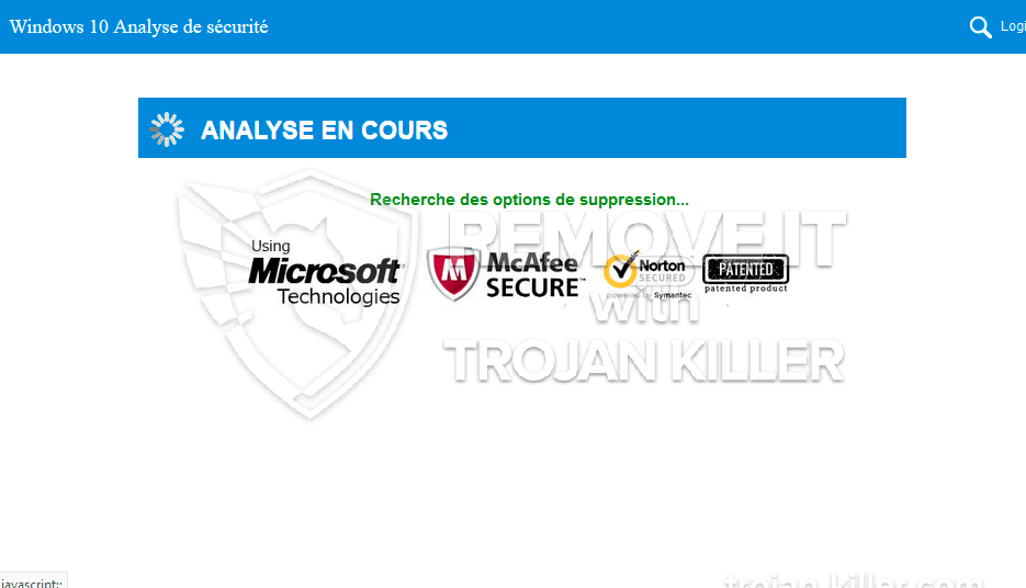 remove Windows 10 Analyse de sécurité virus