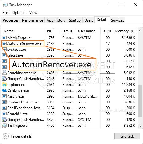 What is AutorunRemover.exe?