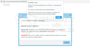 """""""Windows Firewall has detected that your Windows 7 is damaged and irrelevant"""" pop-up scam (elimination guide)."""