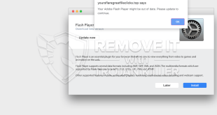 [Yoursflaregreatfileclicks.top] fake Adobe Flash Player update alert removal.