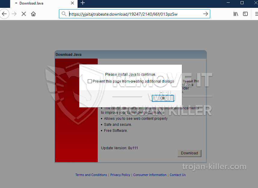 Yjaitajtrabeate.download fake Java Update pop-up removal. - Trojan