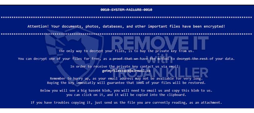 Getmyfilesback@airmail.cc ransomware virus