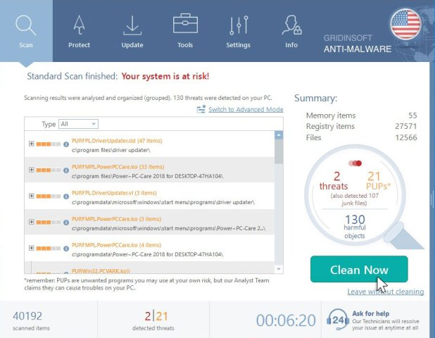 GridinSoft Anti-Malware Scan Resultat