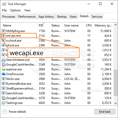 What is Wecapi.exe?