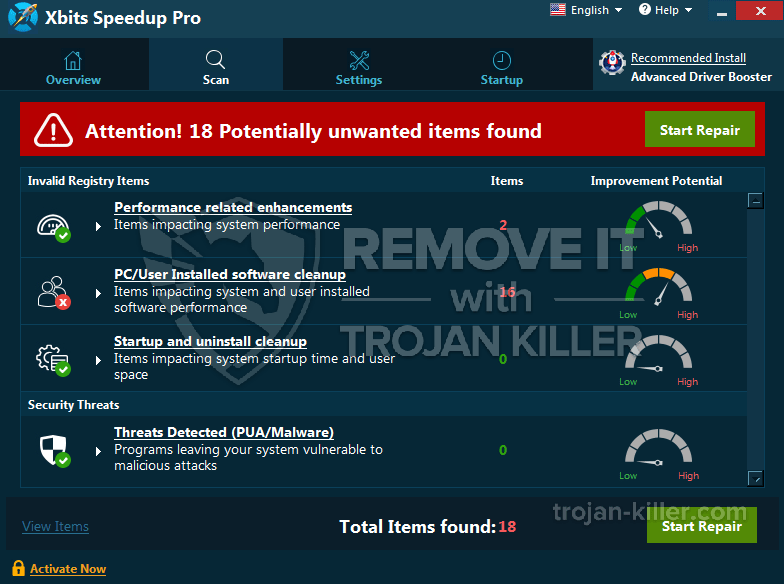 entfernen Xbits Speedup Pro