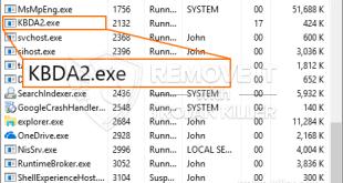 Remover KBDA2.exe Miner Trojan