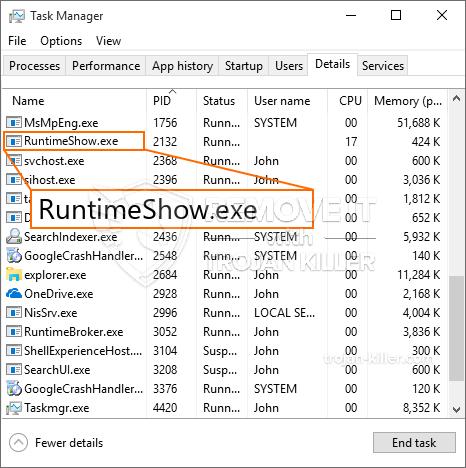Wat is RuntimeShow.exe?
