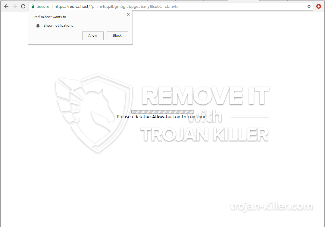 Allow Button how to remove redisa.host show notifications - trojan killer