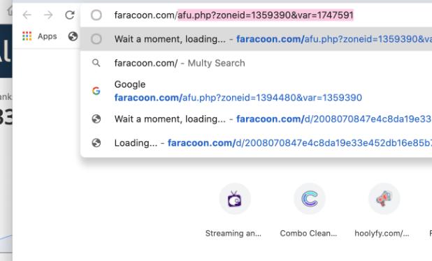 virus de redireccionamiento faracoon.com