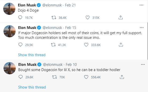 Musk about Dogecoin on Twitter