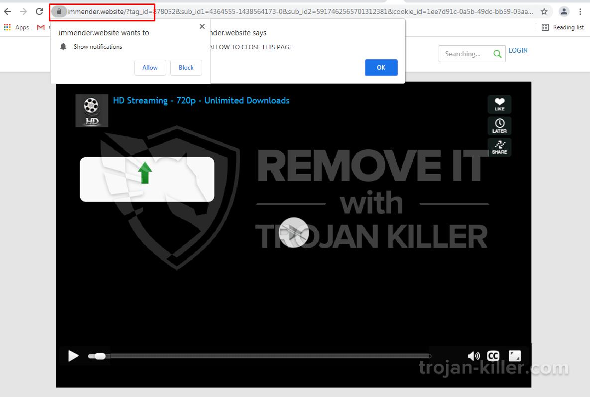 Immender.website virus