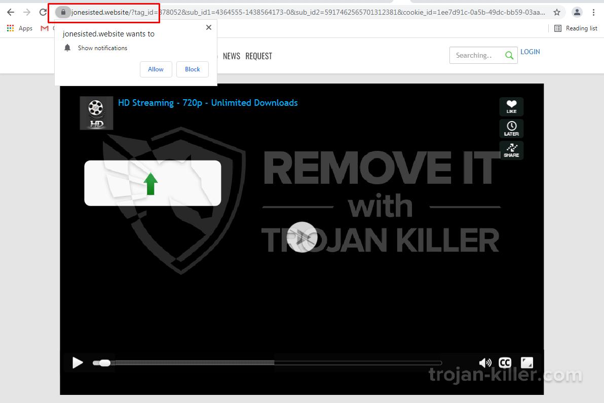 Jonesisted.website virus