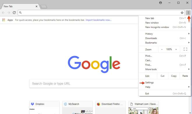 Ajustes de Google Chrome