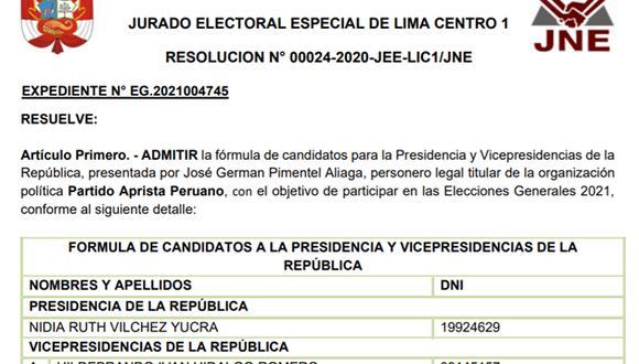 Admisión de la plancha presidencial del Apra. (Foto: @nidiavilchez)