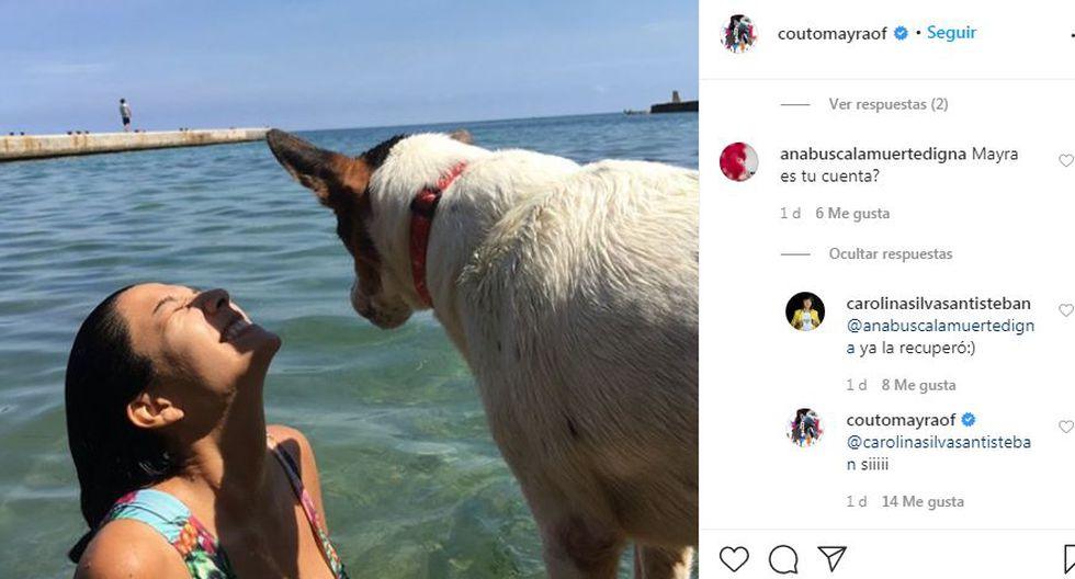Mayra Couto recupera su cuenta de Instagram y la estrena con foto en traje de baño