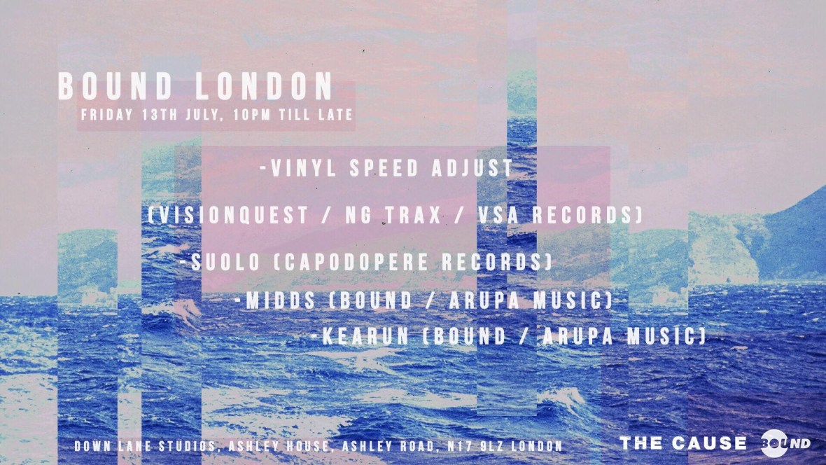 Vinyl Speed Adjust will play extended set alongside Suolo, Midds and Kearun at The Cause for Bound on 13 July
