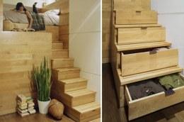 Không những chỉ là bậc thang đi lên mà chúng còn là 1 chiếc tủ đựng quần áo