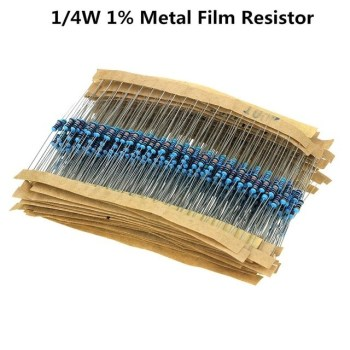 100pcs/lot 1/4W 1R~22M 1% Metal film resistor
