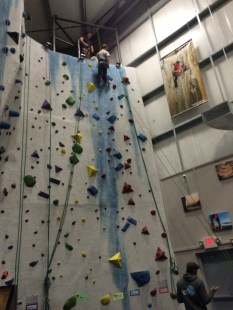 A Scout Rapelling for the Rock Climbing Merit Badge