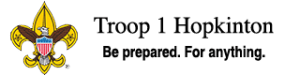 BSA logo, Troop 1 Hopkinton, Be prepared. For anything.