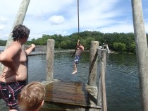 Huck's Cove Rope Swing - Mr Feldewerth Shows the Scouts How It's Done